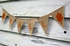 Rustic Fall Burlap Pennant Banner - Thanksgiving, Fall, Autumn Decor.
