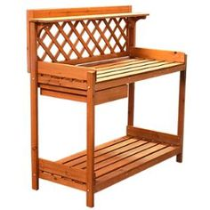 Potting Bench Outdoor Garden Work Bench Station Planting Solid Wood Construction