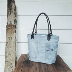 A Well Worn Story | Vintage denim overalls turned into an everyday tote bag