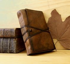 Leather Journal or Notebook, Brown Antiqued Leather, Antiqued Pages