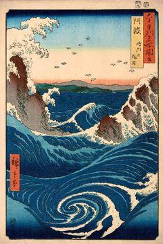 "Japanese Art Print ""Wind and Waves at Naruto, Awa Province"" by Hiroshige Utagawa, woodblock print reproduction, seascape, maelstrom Korean Art, Asian Art, Art Japonais, Japanese Painting, Japanese Prints, Stretched Canvas Prints, Woodblock Print, Fine Art Prints, Waves"