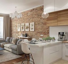 Living room - Decoration For Home Small Living Rooms, Home Living, Living Room Designs, Living Room Decor, Kitchen With Living Room, Small Apartment Interior, Home Interior Design, Home Decor Kitchen, Small Apartments