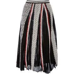 Oscar de la Renta     A-line Midi Skirt (76,910 PHP) via Polyvore featuring skirts, oscar de la renta, black, oscar de la renta skirt, knee length a line skirt, calf length skirts, midi skirt and mid calf skirts