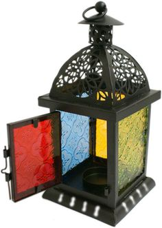 Black Metal Moroccan style Lantern with Stained Glass !FREE UK P&P!