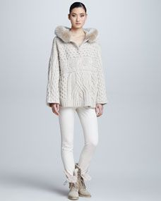 Cable-Knit Mink Fur Hooded Cape & Riding Pants
