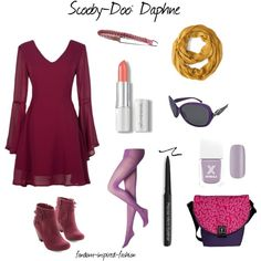 """Scooby-Doo's Daphne Inspired Outfit"" by fandom-inspired-fashion on Polyvore. Inspired by the fashionista #Daphne from the #Scooby-Doo cartoon series. She loves #purple, so this is filled with her favorite color. Long-sleeved purple dress with matching tights and booties. Purple #headband and yellow #scarf, which she always wears. Pink lipstick, black eyeliner and purple nail polish for makeup. #Messenger bag with #question mark pattern for all the #mysteries needing to by solved."