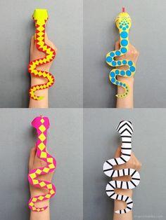 Snake finger puppets - printable template