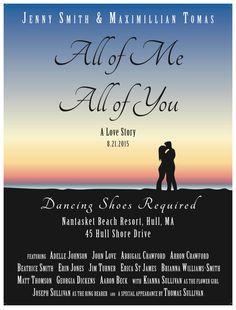 Custom 18x24 Wedding Movie Poster Unique by AnnaLeighDesignsShop