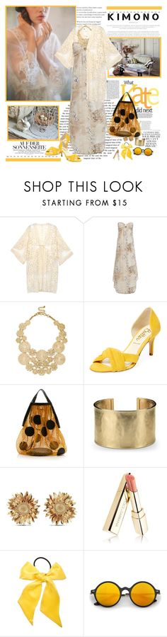 """""""The word for today... KIMONO"""" by purplecherryblossom ❤ liked on Polyvore featuring TIBI, Do Everything In Love, Melissa Odabash, Sole Society, Butter, Maison Margiela, Blue Nile, Asprey, Dolce&Gabbana and L. Erickson"""