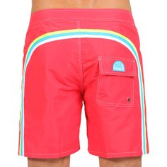 41d3ea0b39 LONG SWIM SHORTS WITH RAINBOW BANDS COLOR LOLLY RED 4 (M503BDTA100-187) |  Man Sundek