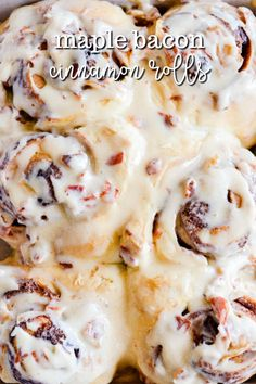 These Maple Bacon Cinnamon Rolls are unbelievably easy, melt-in-your-mouth delicious, and so soft and fluffy thanks to my secret ingredient-- Rhodes AnyTime! Bacon Recipes, Brunch Recipes, Breakfast Recipes, Dessert Recipes, Cooking Recipes, Bacon Meals, Oven Bacon, Bacon Roll, Bacon Appetizers
