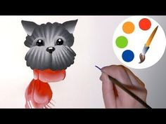 Easy way to paint The Dog in 10 minutes, double stroke, irishkalia - YouTube