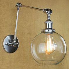 Modern Polish Swing Arm Clear Glass Wall Sconce Adjustable Wall Lighting Lamp #UnbrandedGeneric #WallFixtures