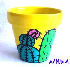 Macetas Cactus - Macetas - Casa - 132445 Flower Pot Art, Flower Pot Crafts, Cactus Flower, Clay Pot Projects, Clay Pot Crafts, Home Crafts, Painted Clay Pots, Painted Flower Pots, Pots D'argile