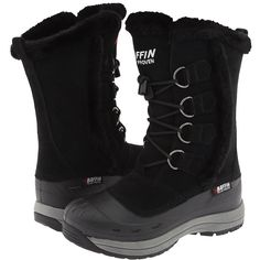 Baffin Chloe (Black) Women's Cold Weather Boots ($145) ❤ liked on Polyvore featuring shoes, boots, black, mid-calf boots, mid calf boots, mid calf lace up boots, winter boots, baffin boots and lace up boots