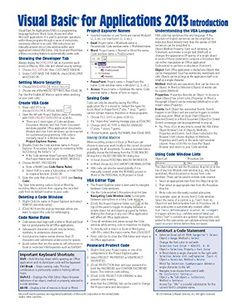 Excel Macro/VBA cheat sheet? [closed] | C01 --- cheat sheets ...
