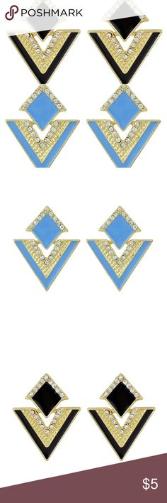 NWT BLUE OR BLACK TRIANGLE EARRINGS These earrings are new with tags and are perfect to accessorize any outfit. ❗️BUNDLE FOR DISCOUNTS❗️ Jewelry Earrings