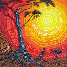 Connection 2 Country by Aboriginal Art Dot Painting, Aboriginal Art Symbols, Aboriginal Art Animals, Aboriginal Culture, Dot Art Painting, Aboriginal Tattoo, Encaustic Painting, Aboriginal Art Australian, Indigenous Australian Art