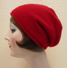 Pure Cashmere Rollup hat Slouch beanie Red by elinadavenport