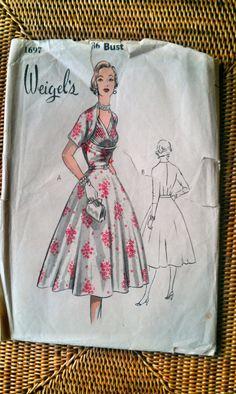 "Vintage 1950s Weigels dress pattern. Size 36"" Bust."