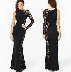 Chic Women's Steam Punk Lace Hollow Clubwear Cocktail Sexy Party Maxi Dress Plus #Other #OneShoulder #Cocktail