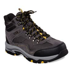 Take on the trails in rugged style and long-lasting comfort wearing these men's Skechers Relaxed Fit Trego Pacifico waterproof hiking boots. Comfortable Steel Toe Boots, Leather Men, Leather Boots, Mens Waterproof Hiking Boots, Flat Heel Boots, Ankle Boots, Nike Shoe Size, Nike Shoes, Skechers Relaxed Fit
