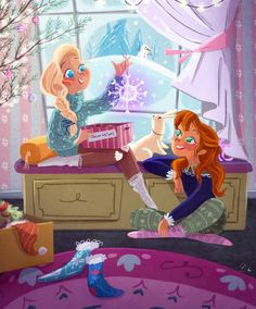 Frozen sisters getting ready for Christmas