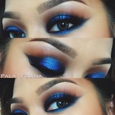 """bluessss  used the beauty weapon palette on my crease // then electric blue eyeliner on my lid for base and glamour loose shadow @motivescosmetics  // noir fairy lashes  @House of Lashes // and contacts are """" aqua"""" by @Amberd Garcia // motives preferred costumer code :: PALAFOXXIA"""