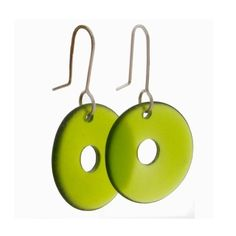 Nick - concave disk recycled glass bottle earrings