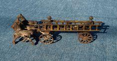 Cast Iron, It Cast, Cowboys 4, Horse Drawn, Fire Engine, Architectural Salvage, Toy Sale, Antique Toys, Ladder