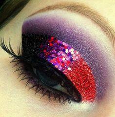 Let's Rock! :D Makeup Tutorial - Makeup Geek Purple Eye Makeup, Dramatic Eye Makeup, Makeup Geek, Beauty Makeup, Beauty Nails, Hair Beauty, Glitter Girl, Red Glitter, Glitter Makeup