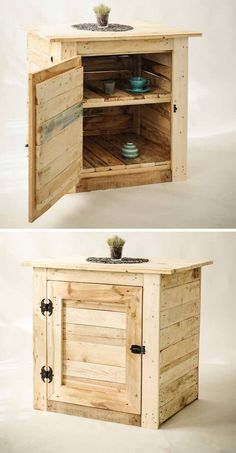 Captivating and Stunning Upcycled Pallet Furniture Ideas - DIY Woods Wooden Crate Coffee Table, Pallet Dining Table, Diy Table, Pallet Furniture Easy, Pallet Furniture Designs, Diy Furniture, Pallet Wardrobe, Pallet Projects Diy Garden, Pallet Wall Decor
