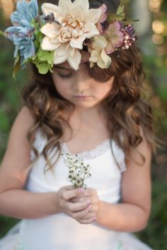 Flower crowns and braids with leaves but with neutral greens golds and Browns