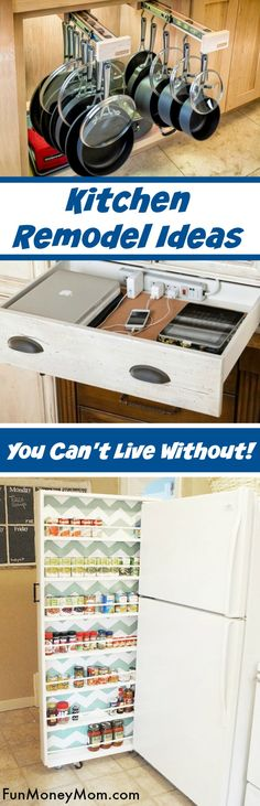 Kitchen Remodel Ideas - If you're planning a kitchen renovation, you HAVE to check out these awesome kitchen organization ideas. From extra kitchen storage in the pantry to pull out shelving beside the refrigerator, these ideas are genius. #kitchenremodel #kitchenorganization #kitchenstorage #kitchenrenovation