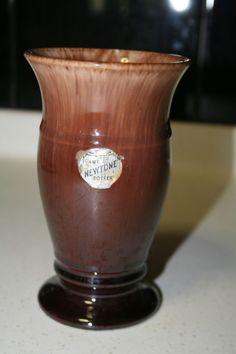 14.5cm x 8.5cm Vintage Drip Glaze NEWTONE Pottery Vase Caramel to Dark Brown