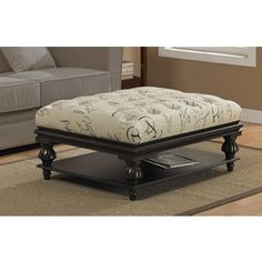 """NEW! 40""""W TUFTED FRENCH SCRIPT OTTOMAN! USE WITH OR WITHOUT BOTTOM SHELF!"""