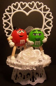 M M Candy Wedding Cake Topper Blue GREEN MM 2 Wedding cake