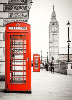Photograph print  London Red Phone Booths 8x10 by kiwiartstudio, $20.00