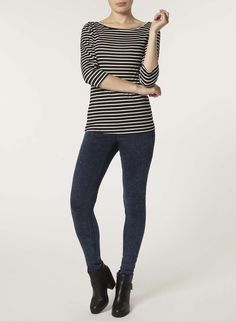 Stripe 3/4 Sleeve Jersey Top