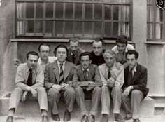 Parisian Surrealists Tristan Tzara, Paul Eluard, Andre Breton, Hans Arp, Salvador Dali, Yves Tanguy, Max Ernst, Rene Crevel, and Man Ray, Paris, 1933, by Anna Riwkin