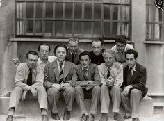 Parisian Surrealists Tristan Tzara, Paul Eluard, Andre Breton, Hans Arp, Salvador Dali, Yves Tanguy, Max Ernst, Rene Crevel, and Man Ray, Paris, 1933, by Anna Riwkin http://anonimodelapiedra.blogspot.com.es