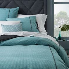 west elm offers modern bedding sets that feature comfort and style. Shop bedroom accessories, including pillows, throws, and duvet covers. Serene Bedroom, Beautiful Bedrooms, West Elm Bedding, Bedding Sets, Bed Sets, Modern Duvet Covers, Master Bedroom Makeover, Beds For Sale, Bedroom Accessories