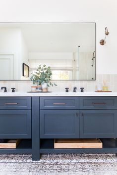 Wonderful Dark Blue Vanity Cabinet With Textured And Printed Floor For Amazing Bathroom Ideas With Super Large Mirror, Actress Vanity, Blue Bathroom Vanity Cabinet Blue Bathroom Vanity, Diy Vanity Mirror, Blue Vanity, Master Bathroom, Bathroom Mirrors, Bathroom Cabinets, Painted Vanity, Kitchen Cabinets, Vanity Cabinet