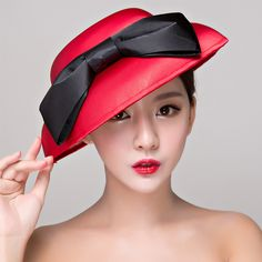 Black & red women Elegant hat with bow Ladies Cocktail hair accessories Dinner Party Headwear Hair clip hair Wedding Bridal hat