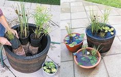 Pond building plastic barrel stones flower pots