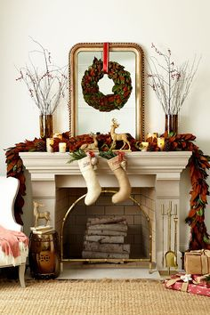 For Christmas, add a larger wreath with a red ribbon and your stockings