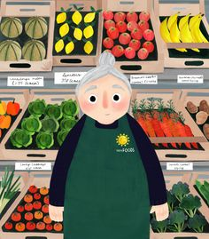 Kirsti Davidson The Green Grocer People Illustration, Character Illustration, Cute Illustration, Illustration Children, Illustrations And Posters, Art Inspo, Drawing Sketches, Art Drawings, Watercolor Paintings