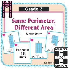 Same Perimeter, Different Area Game Cards (Set of 36): Kids love these cards. Just print, cut, and play one of four games described on mini instruction cards. ~by Angie Seltzer