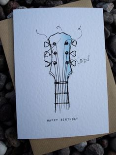 Guitar Card Calligraphy Birthday Cards Drawing Happy Drawings