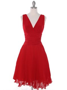 Pleated V-neck Cocktail Dress. Available in Red, Black, Royal Blue, & Turquoise. Get yours today at www.SungBoutiqueLA.com